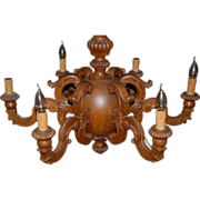 Chandelier Carved in Oak Wood Gorgeous Design 6-light