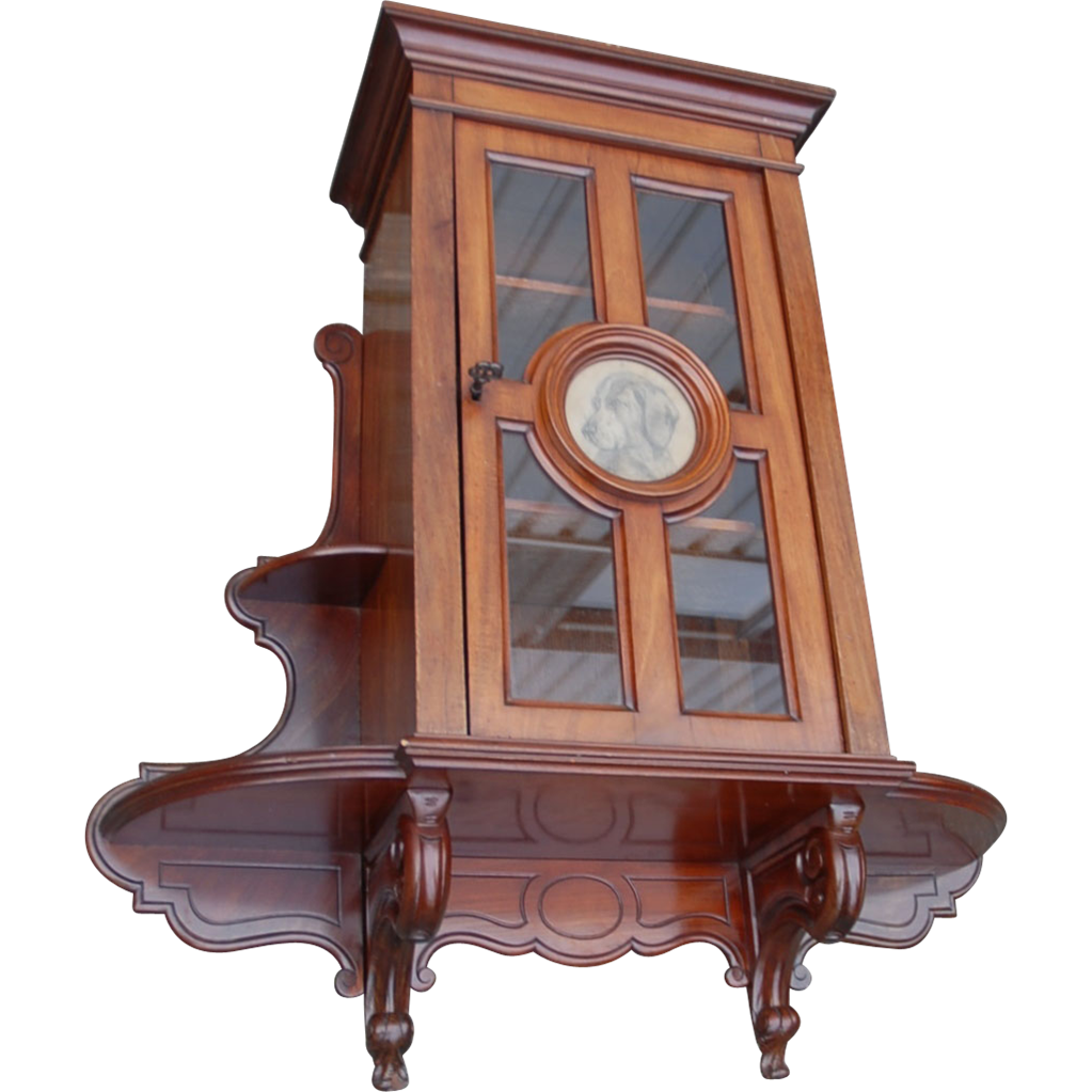 19th Century Antique Walnut Wall Hanging Cabinet W. Picture Frame : Europe  Antiques, Collectibles And Decorations Shop   Ruby Lane