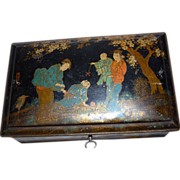 Beautiful Chinoiserie Style Black Tin Box Figural Decor