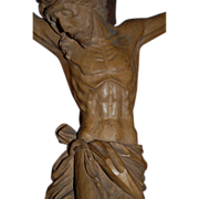 Huge Art Nouveau Hand Carved Wood Chapel Wall Crucifix Jesus Cross Christ Sculpture