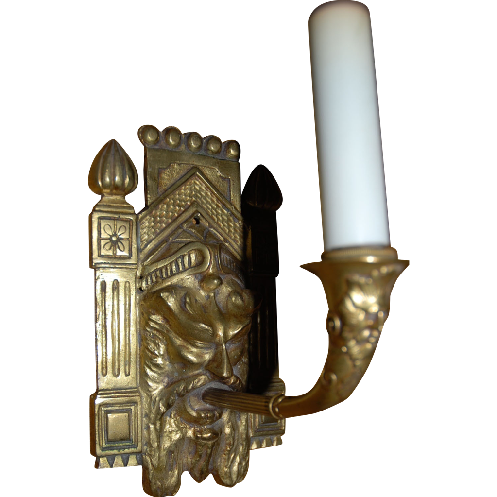 Superb Bronze Mythological Figural Wall Sconce