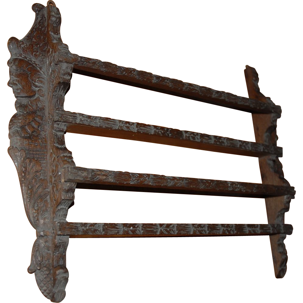 Antique Carved Wood Figural Wall Display Plate Rack  Europe Antiques Collectibles and Decorations Shop | Ruby Lane  sc 1 st  Ruby Lane & Antique Carved Wood Figural Wall Display Plate Rack : Europe ...