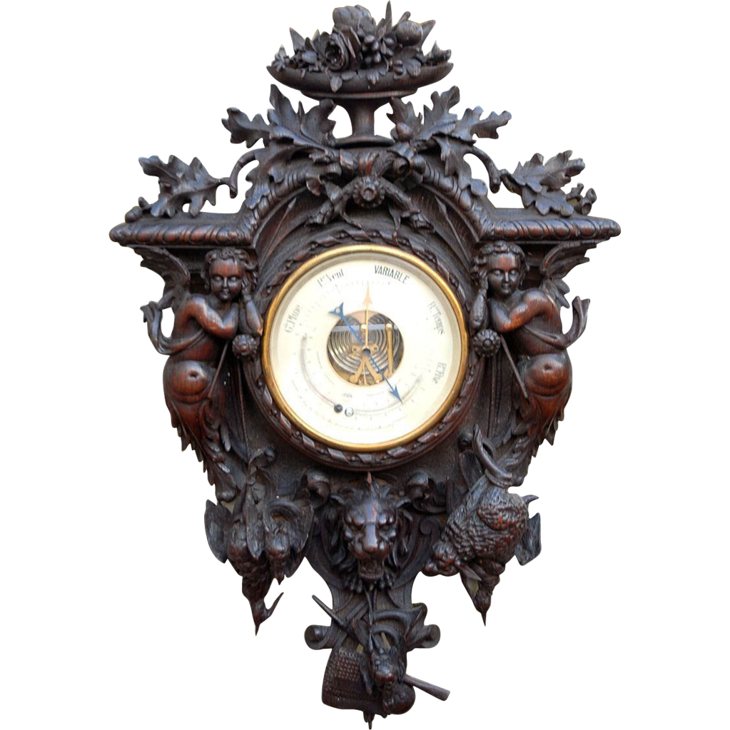 Rare Huge Carved Wood Renaissance Style with Hunting Motif Barometer