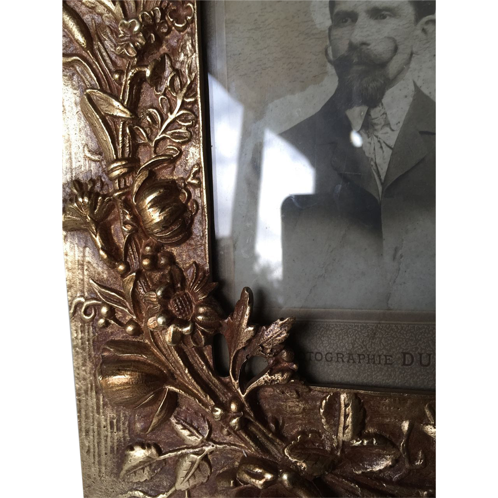 art nouveau bronze picture frame with floral motif sold on. Black Bedroom Furniture Sets. Home Design Ideas