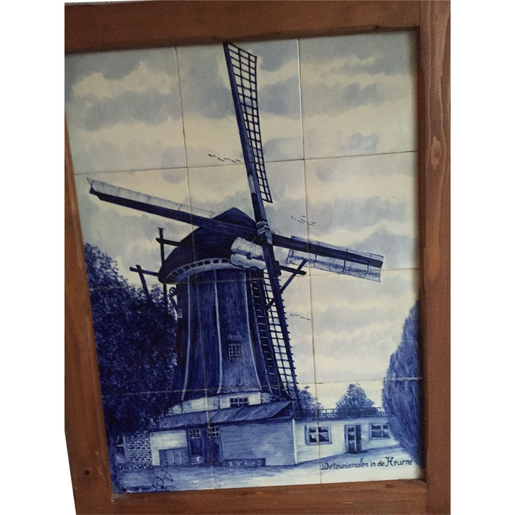 Sold to Lawrence -- Large Framed Porcelain Tile Panel of Delft Blue & White Windmill Scene