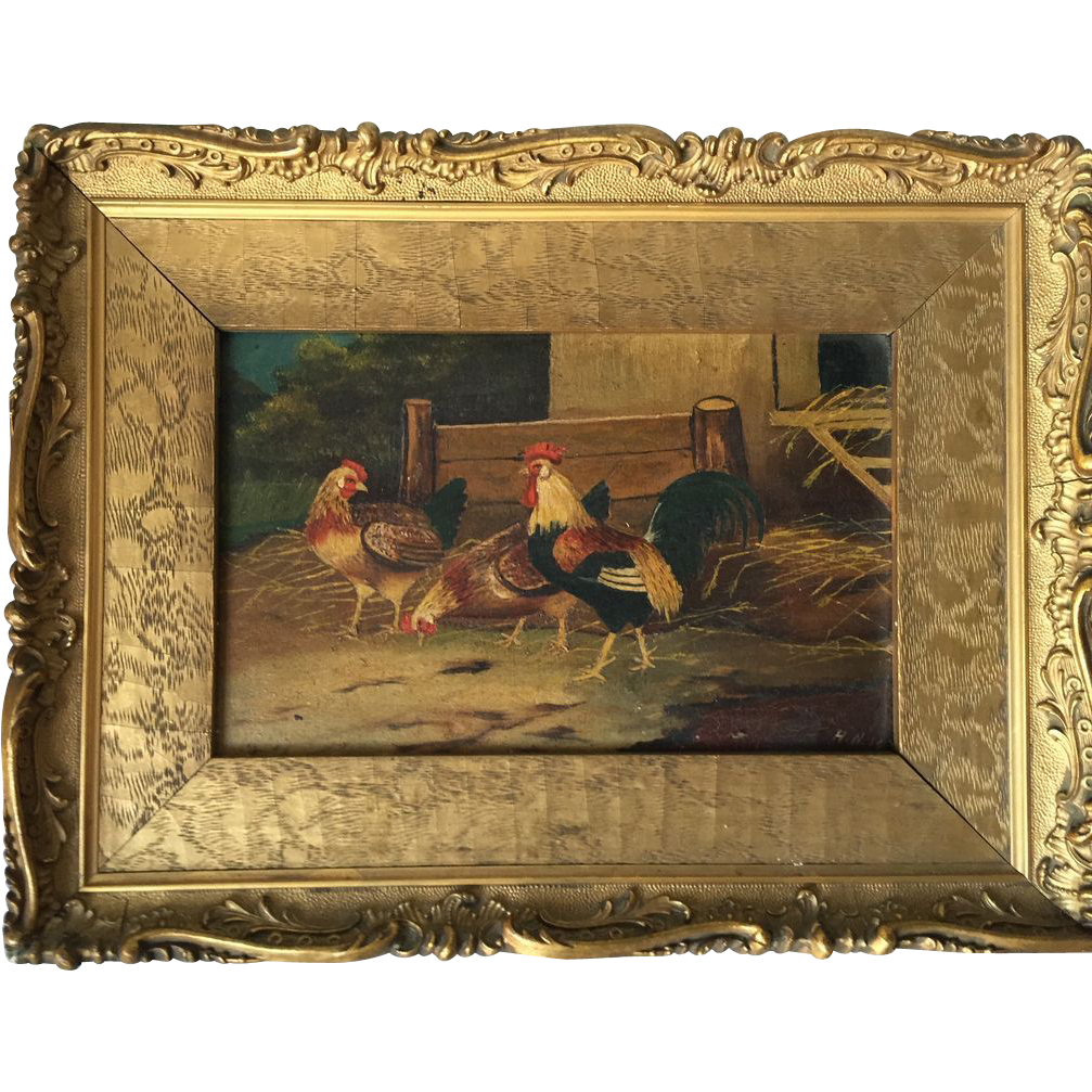 Lovely Vintage Oil Painting Rooster & Chickens in a Nice gold Color Frame