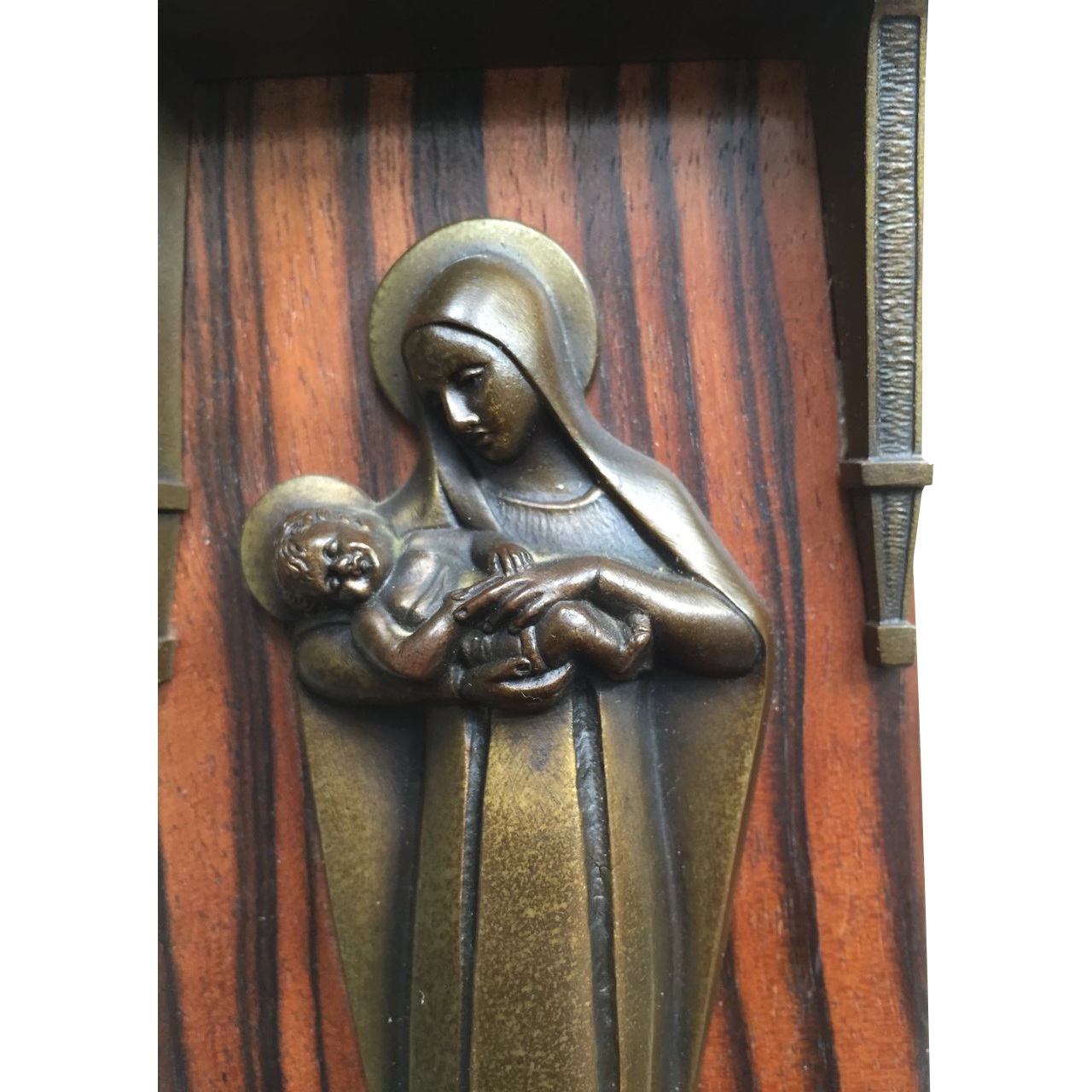 Bronze Madonna and Child Holy Water Font, Signed