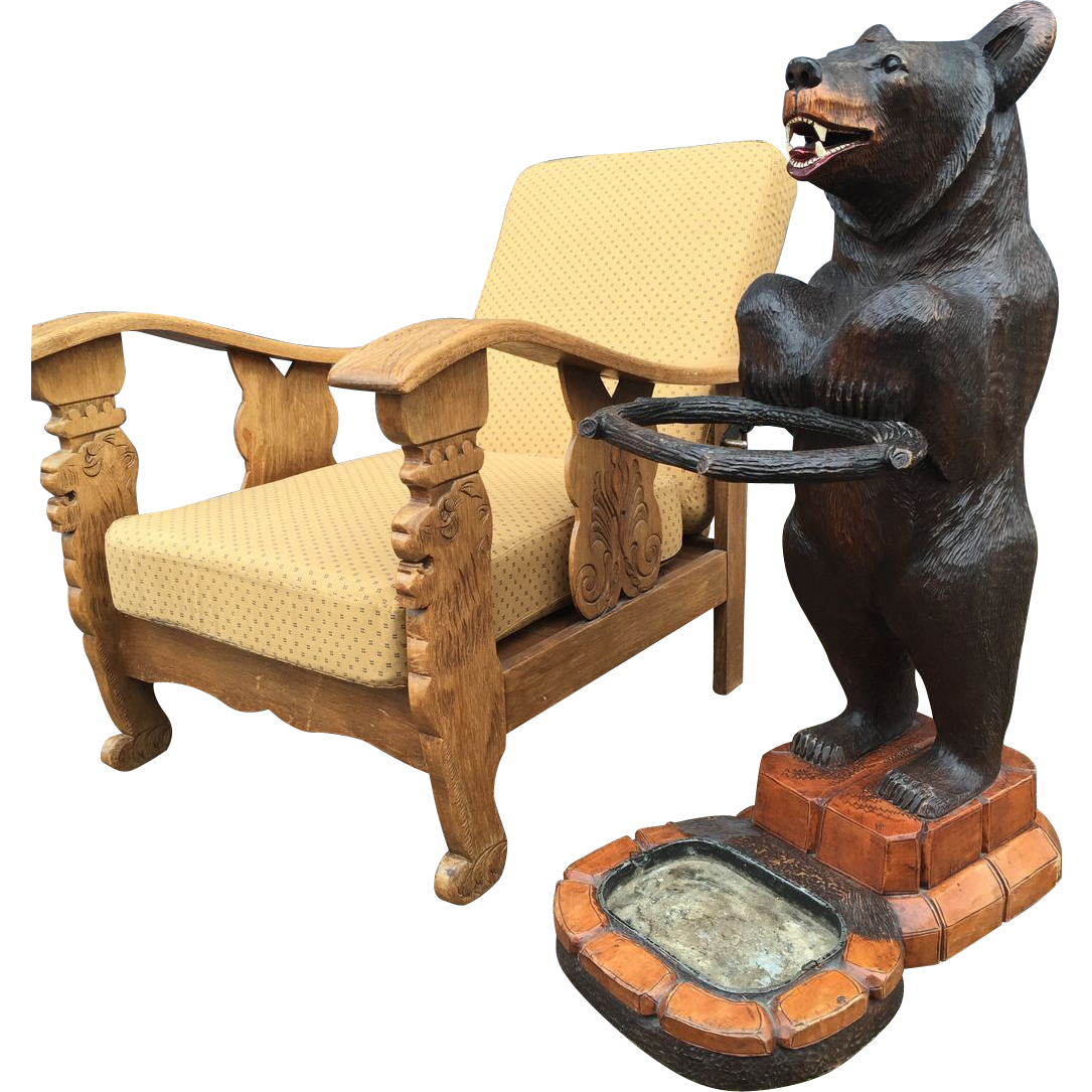 Vintage Carved Oak Smoking Armchair Lion Design
