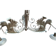 Vintage Wrought Iron Phoenix Chandelier