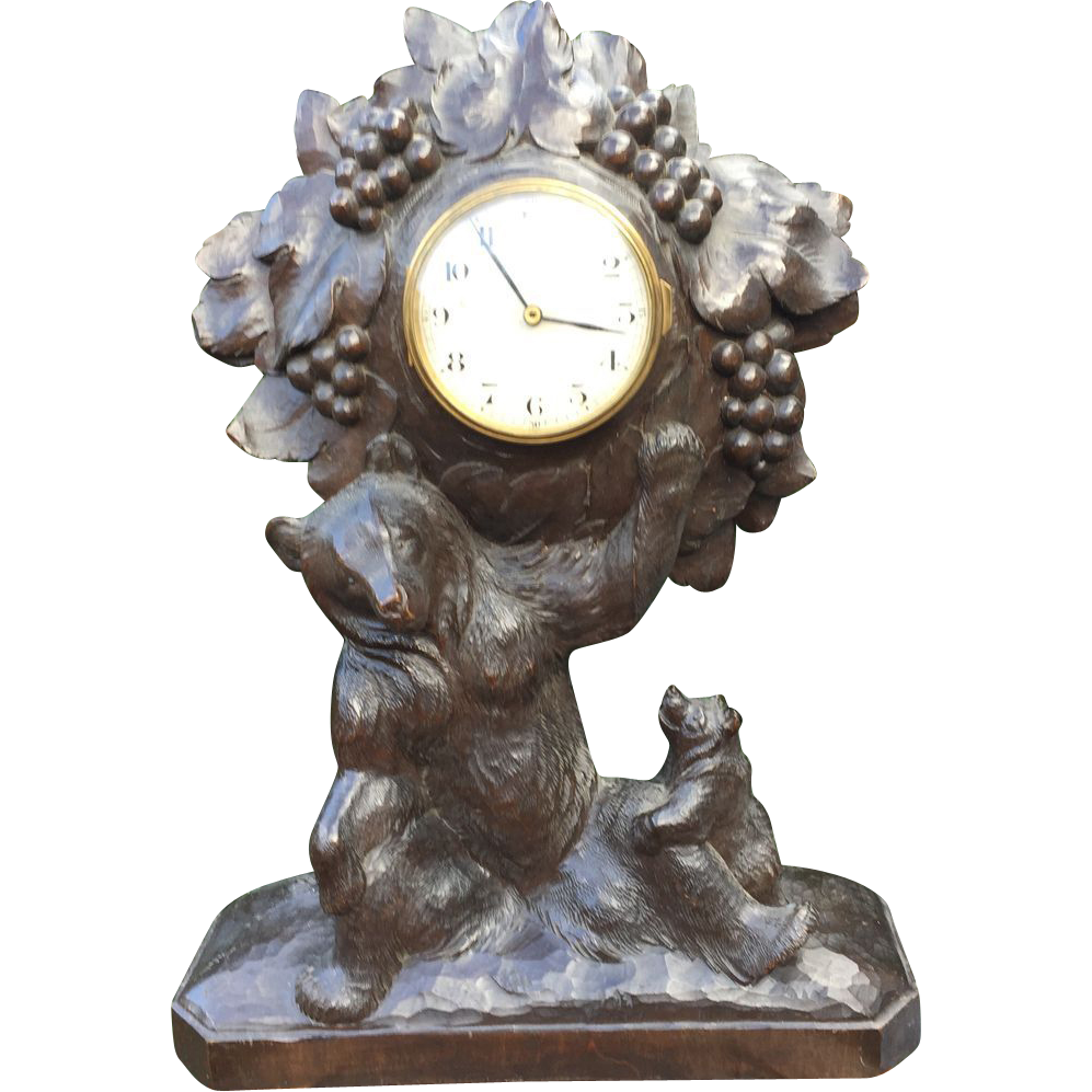 Black Forest Carved Wood Bear Family Group Mantle Clock