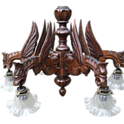 Spooky Vintage Neo Gothic Art Dragon Chandelier