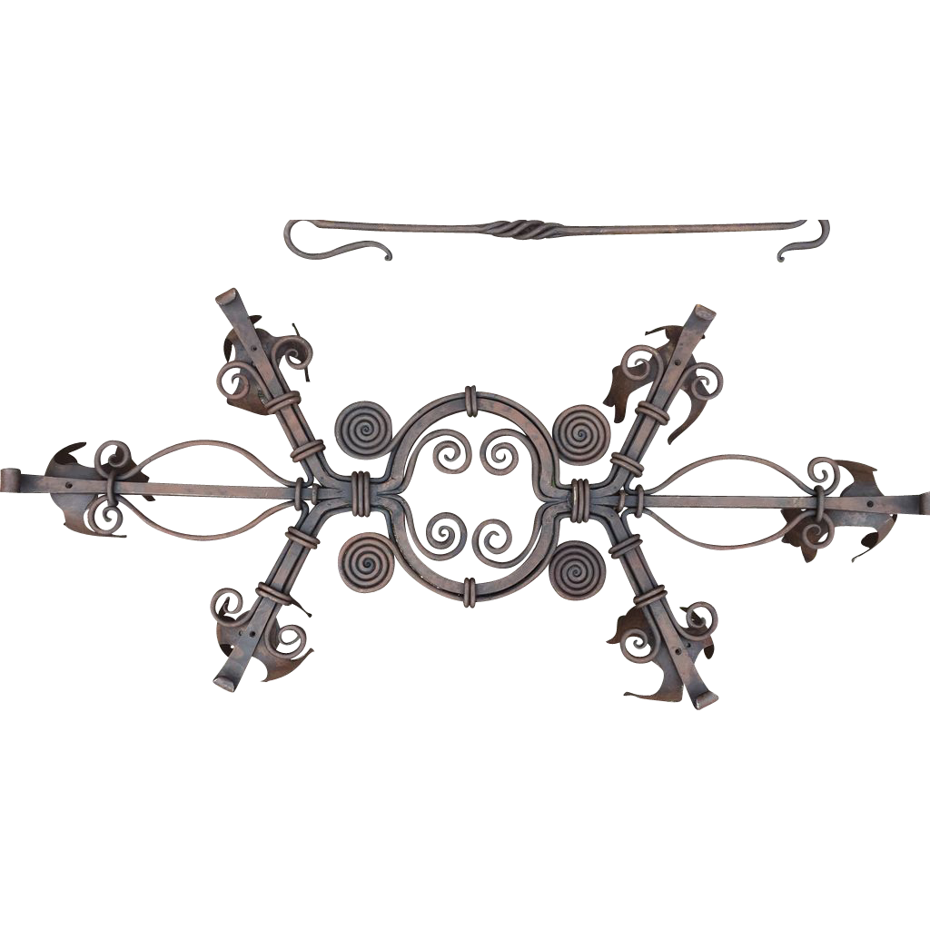 Sold to Cindi -- Large Rustic Wrought Iron Art Castle Chandelier