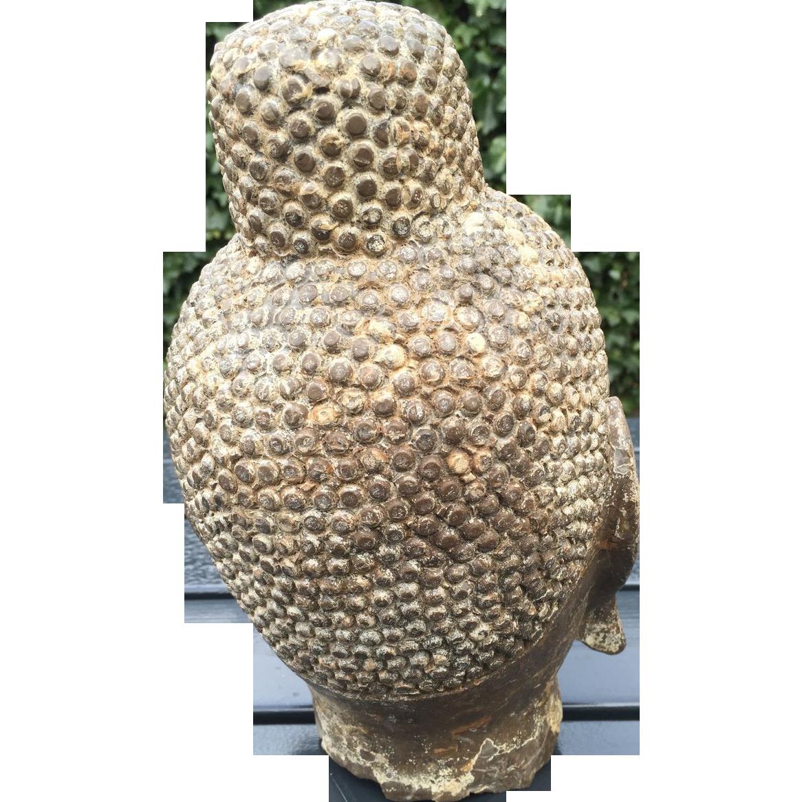 Antique Heavy Marble Buddha Head