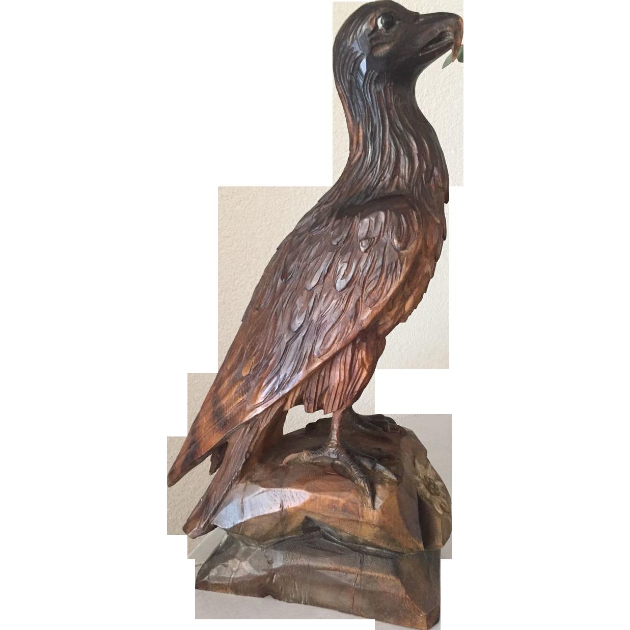 Black Forest Carved Wood Eagle Sculpture