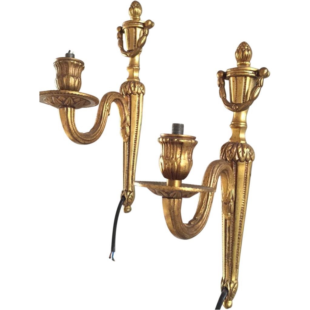 Bronze Pair Empire Wall Sconces 1-light