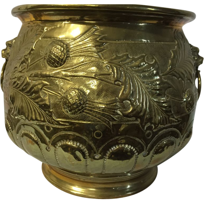 Large brass jardiniere plant holder with lion head and for Jardiniere decorative
