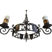 Castle Shield Rustic Wrought Iron Chandelier