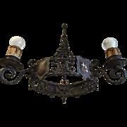 Castle Shield Rustic Wrought Iron Chandelier