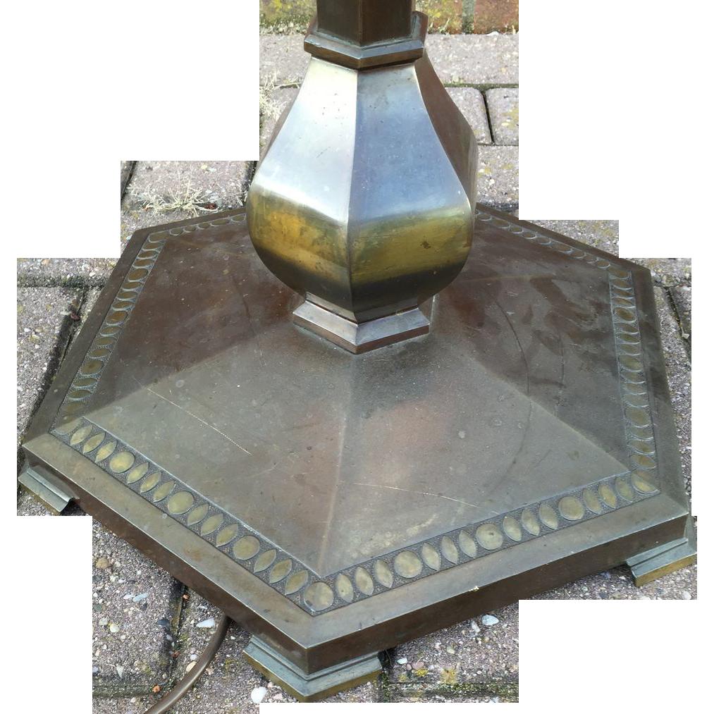 Art Nouveau Deco bronze floor lamp