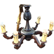 Vintage Carved Wood Six Light Chandelier