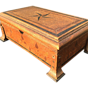 Arts & Crafts Oak Wood Box with Inlaid Wood