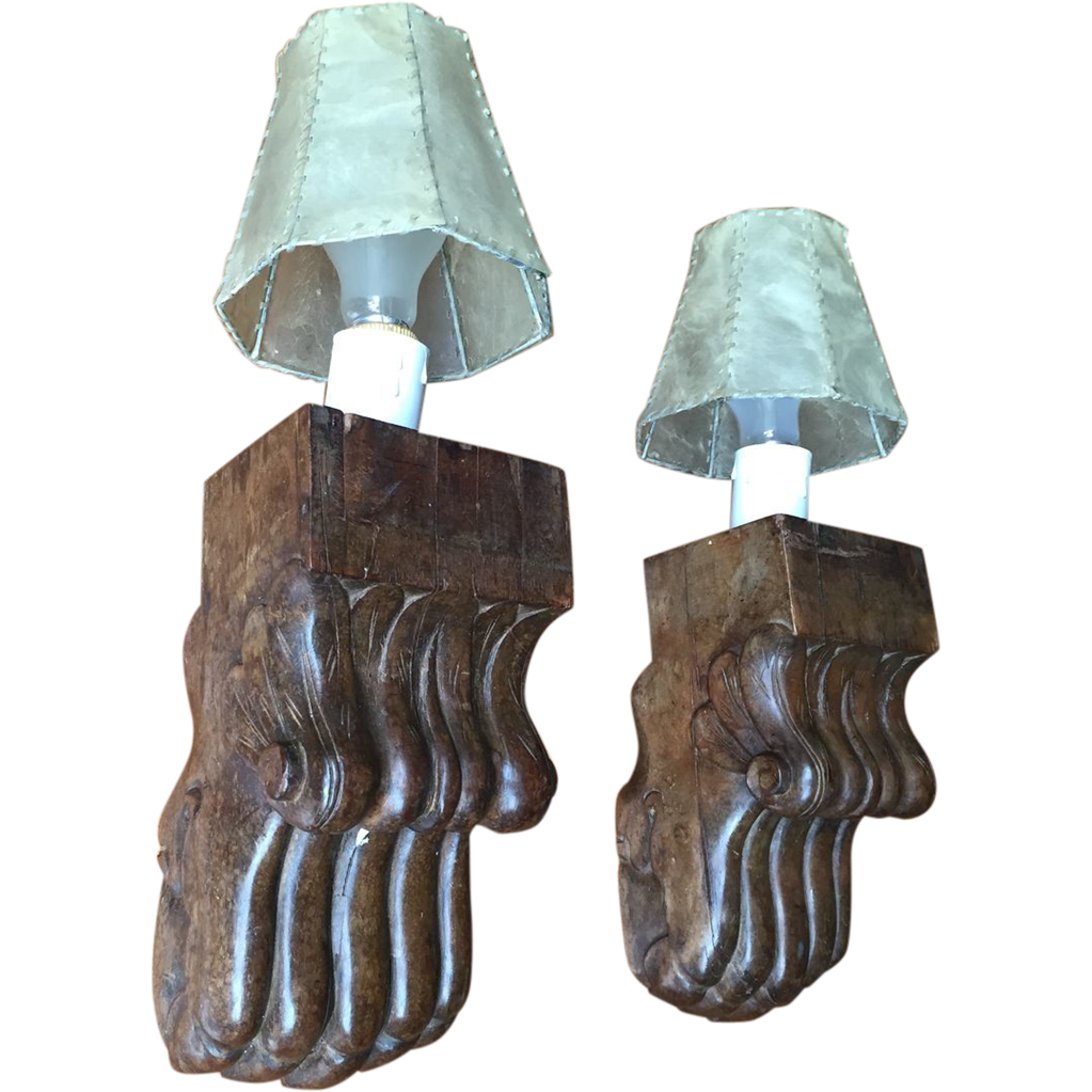Vintage Pair Wooden Claw Sconces