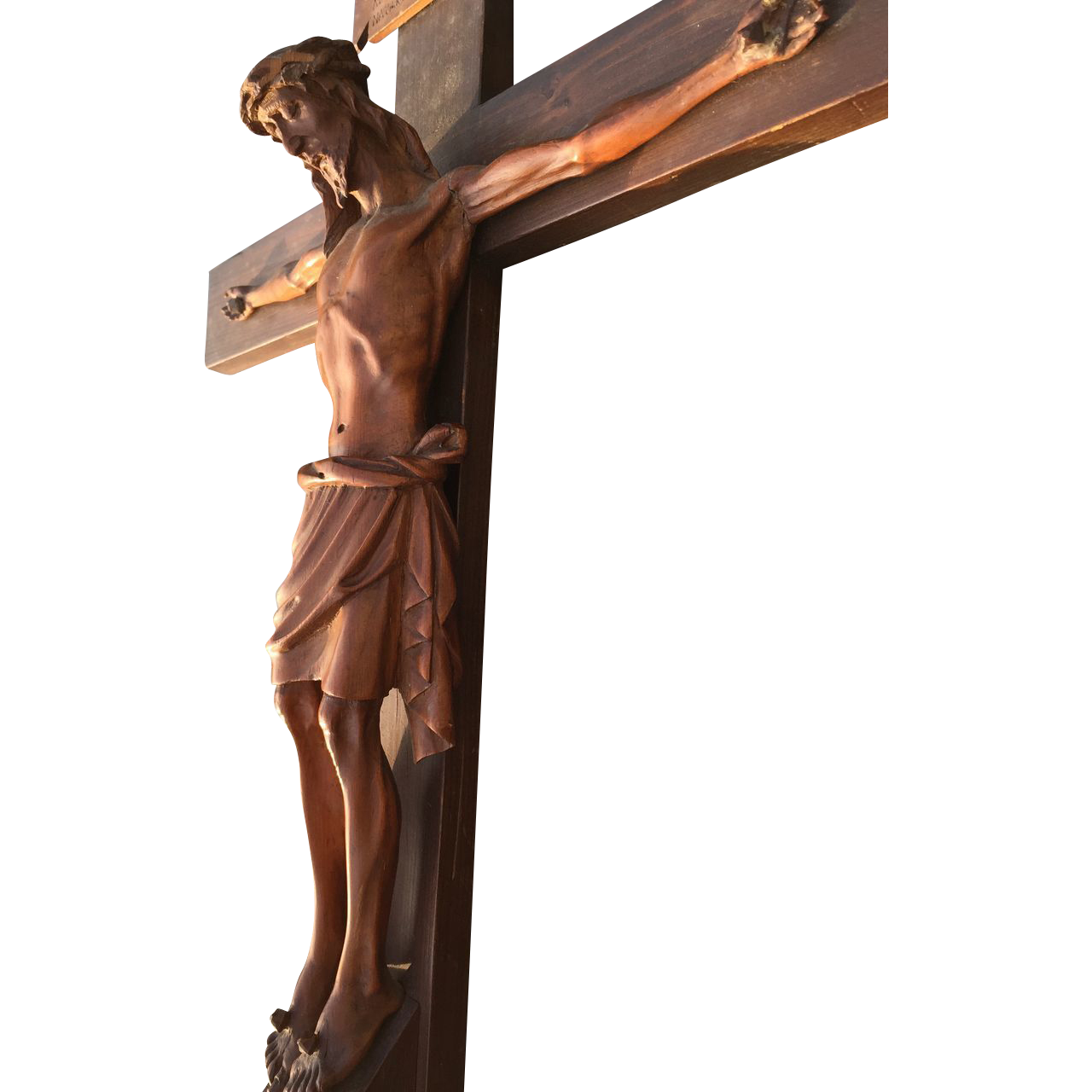 Very Fine Hand Carved Wall Crucifix