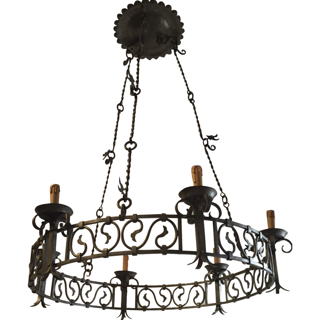 Art Nouveau Wrought Iron Dragon Round Castle Chandelier