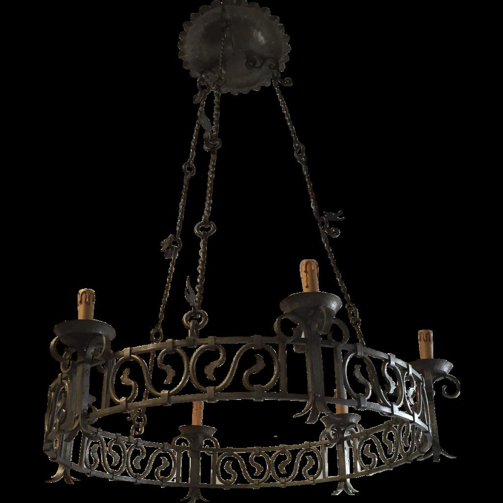 Art Nouveau Wrought Iron Dragon Round Castle Chandelier