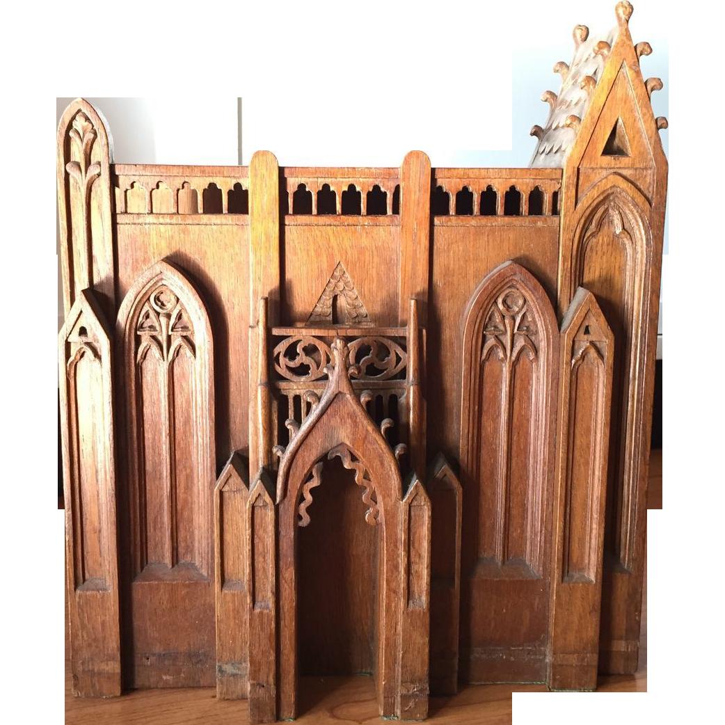 Old Oak Wood ~ Rare antique oak wood bible holder cabinet box sold on