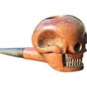 Carved Wood Figure Skull Pipe