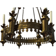 Sanctuary Lamp Bronze Neo Gothic Art Six Candle Chapel Chandelier