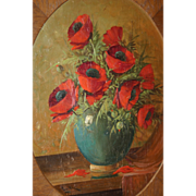 Painting Poppy Bouquet in Vase in Art Deco Frame