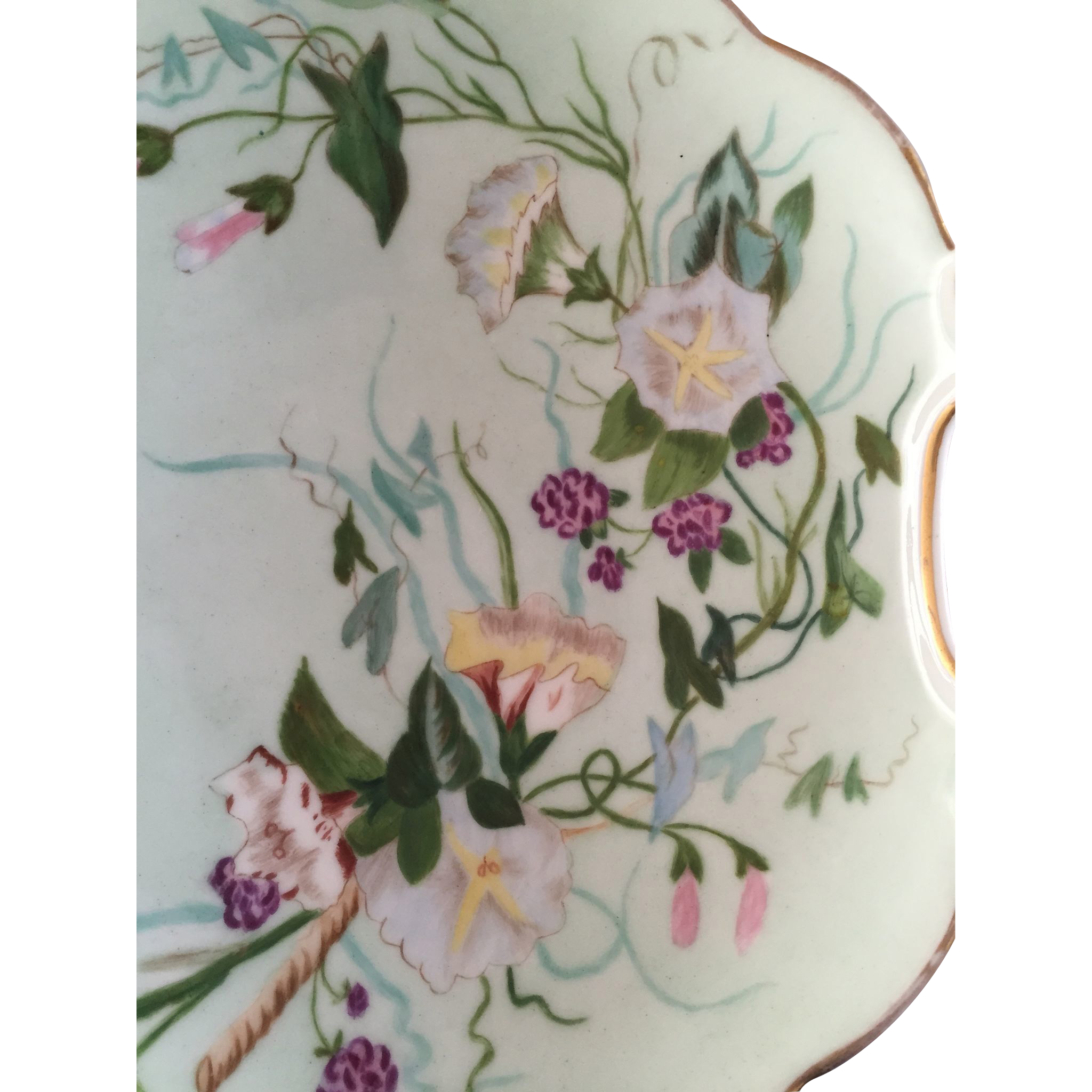 Flowery Decorated Hand Painted Porcelain Plate