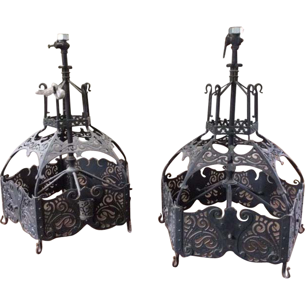 Pair Jugendstil era Modern Design Brass Iron Church Pendants