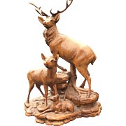 Walnut Deer Stag Group, Black Forest Carving R.Deneffe
