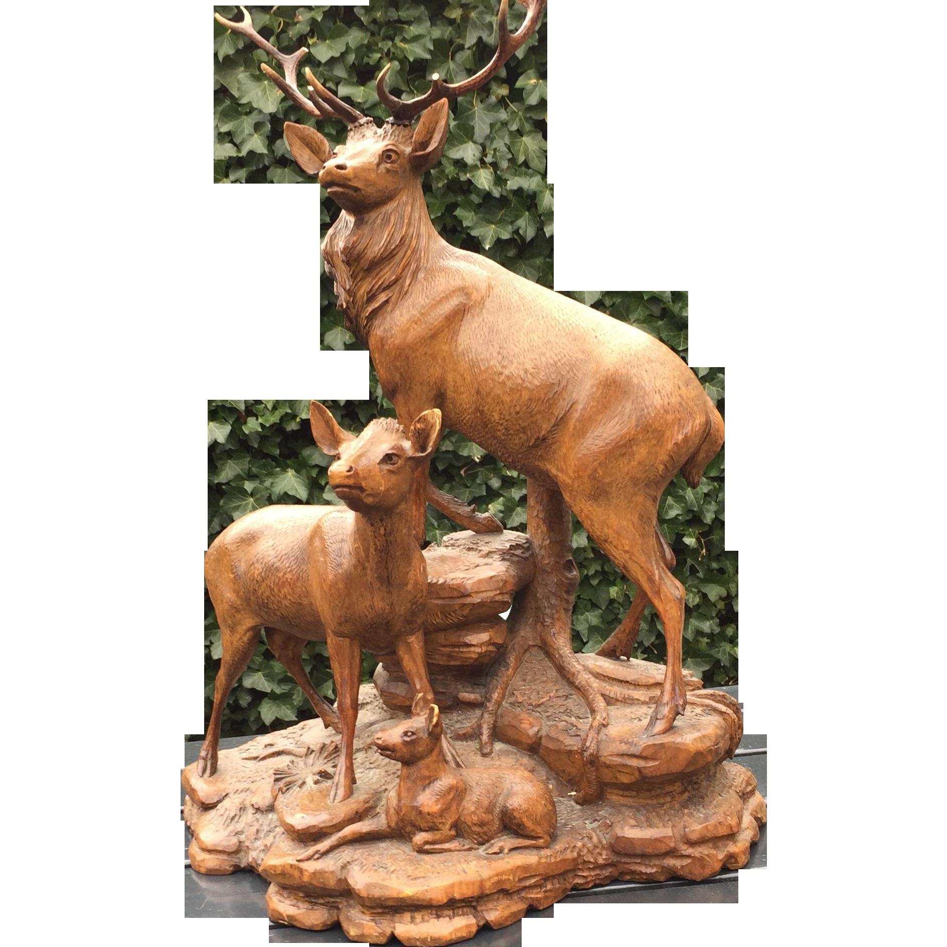 Large Black forest Deer Stag Group