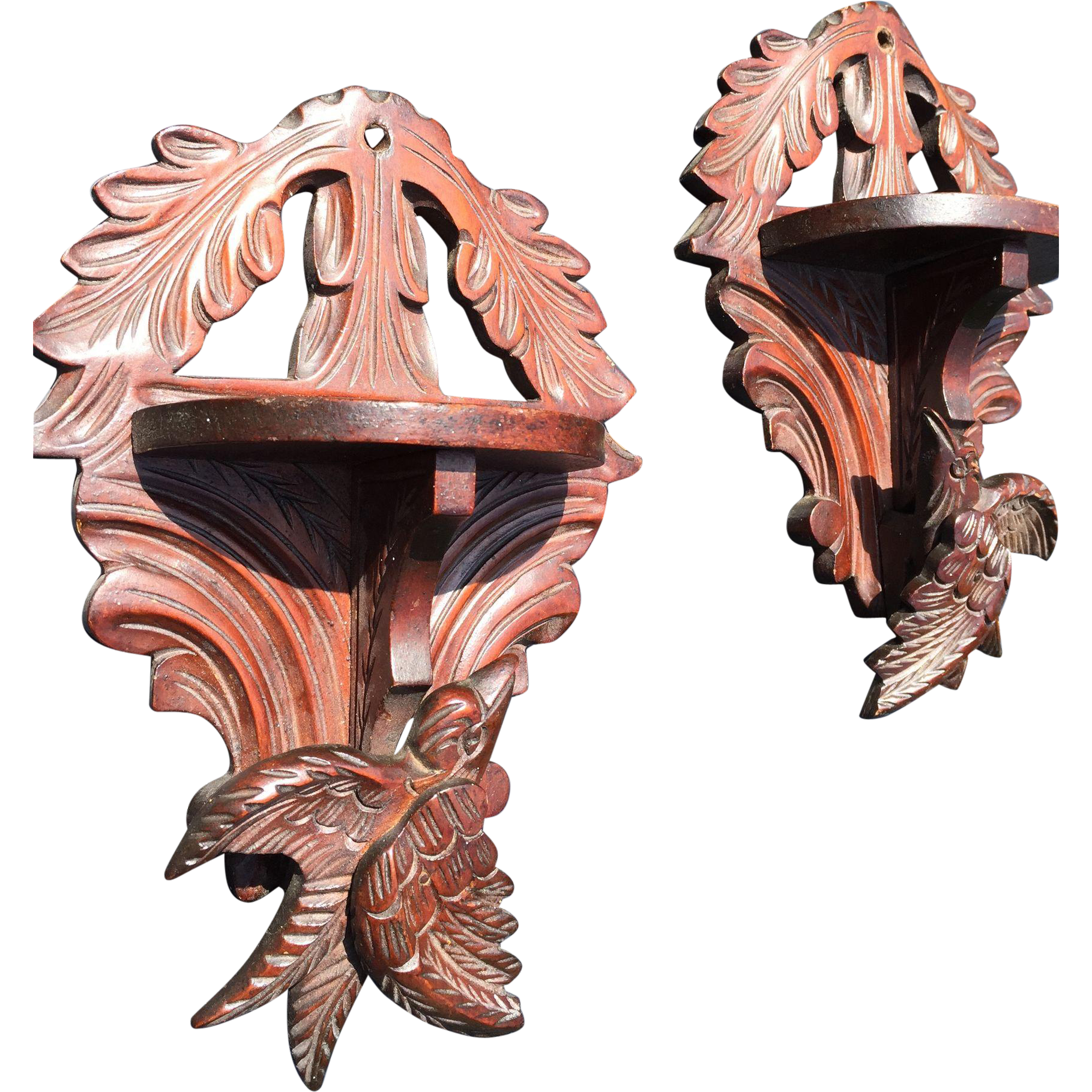 Pair of Black Forest era Victorian Carved Wall Brackets with Birds