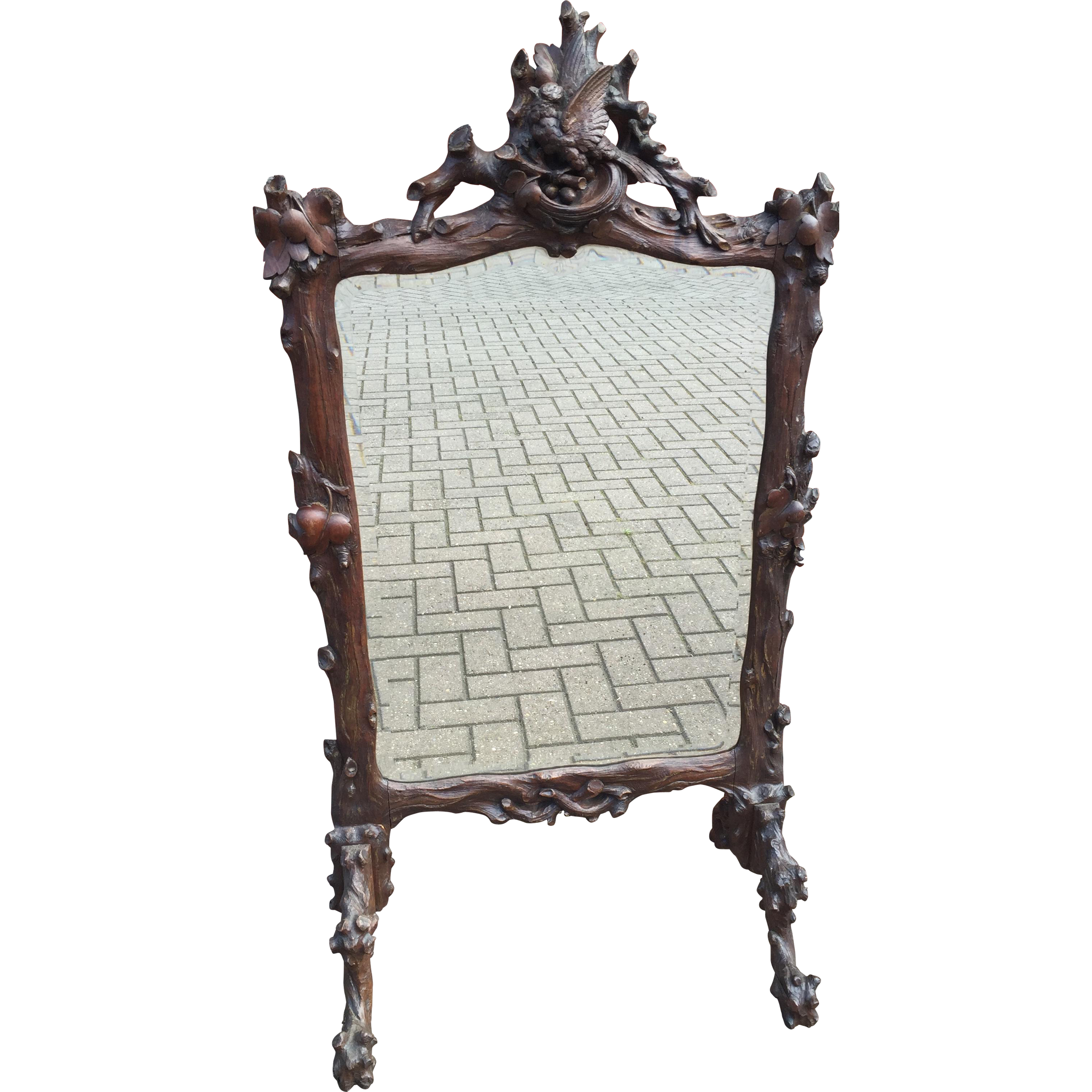 Marvelous photograph of Black Forest Carved Fireplace Screen w Mirror from europeantiqueshop  with #5F4741 color and 2048x2048 pixels