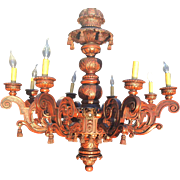 Richly Carved in Wood 8 arm, 16-light Huge Baroque Chandelier,