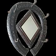 Antique Hunting Horse Carved Oak Coat Rack Mirror