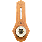 Marquetry Inlaid Wood Wall Barometer