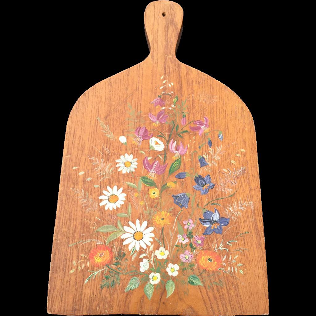 Vintage Oak Wood Bread Board / Cutting Board w. Painted Flower Decor