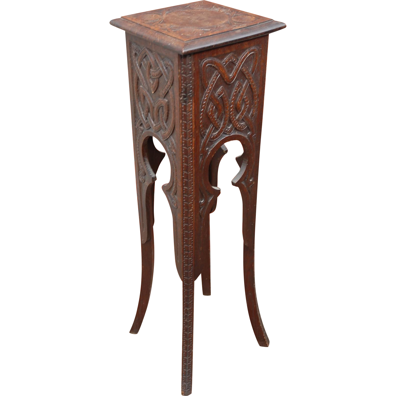 Arts & Crafts Carved Wood(oak) Plant Stand Table
