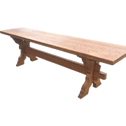 Vintage Solid Oak Wood Cloister Style Bench