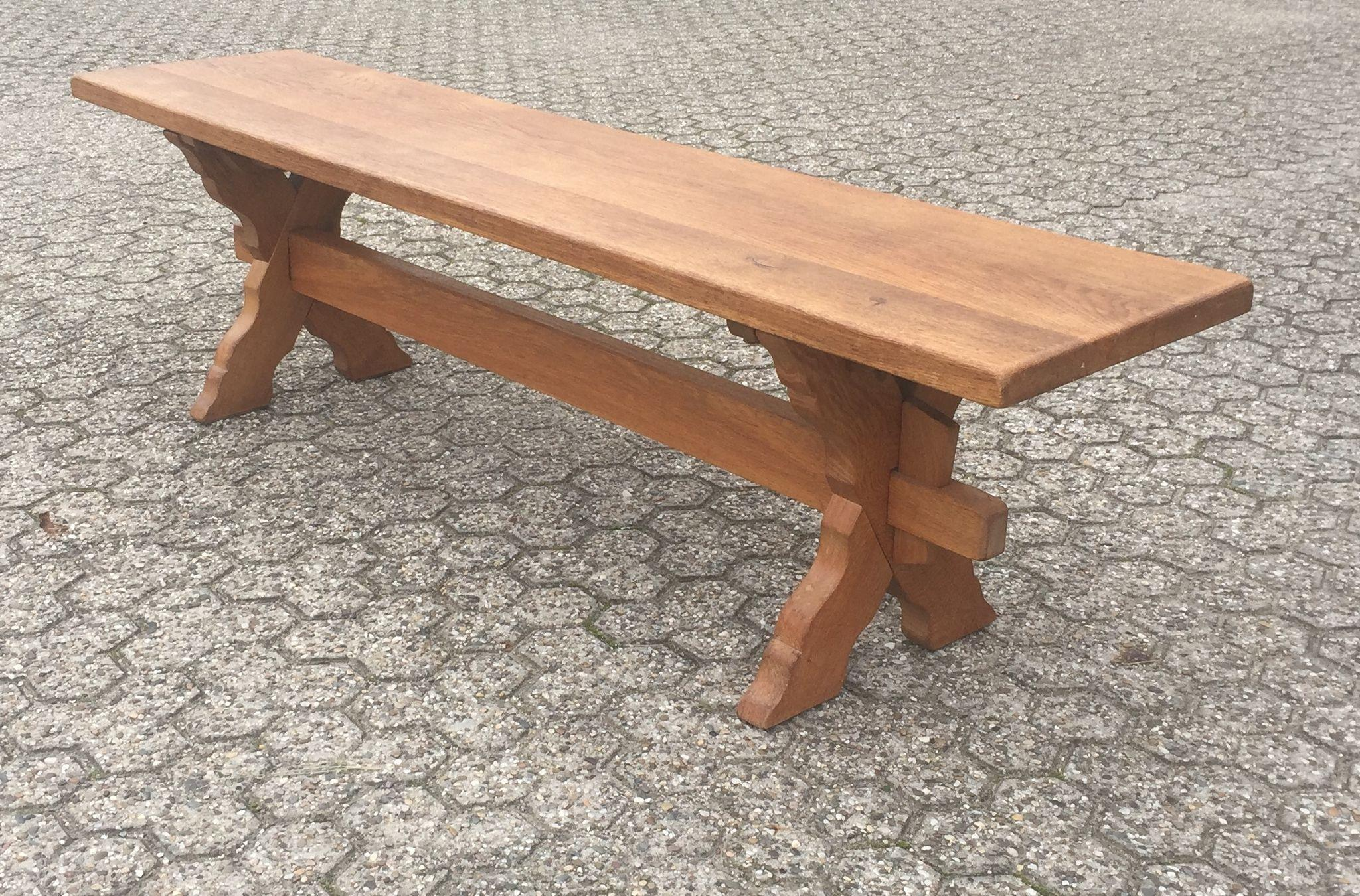 Vintage Solid Oak Wood Cloister Style Bench From