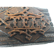 On hold for Galen --  Antique Black Forest - Victorian Carved Wood Tea Box - Caddy