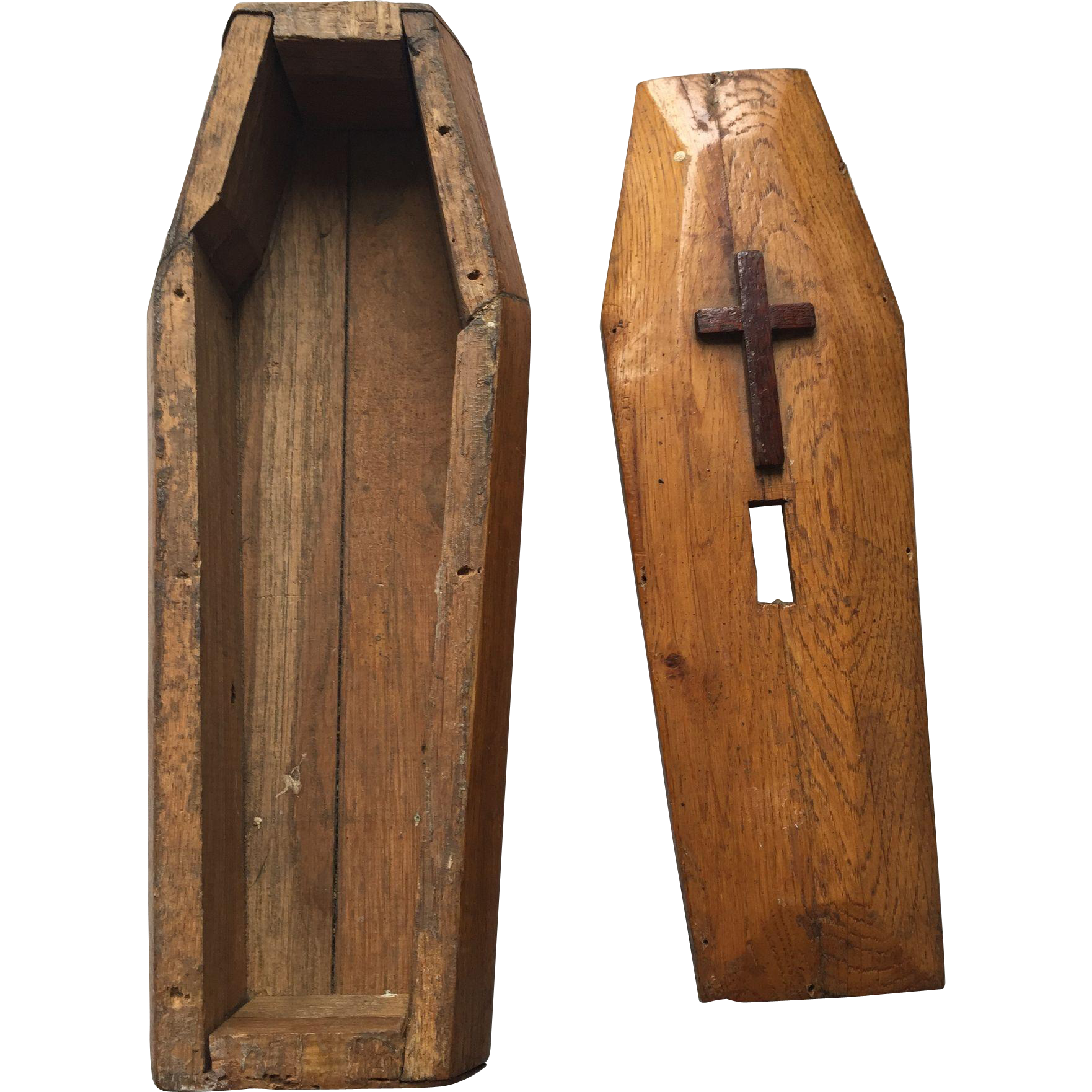 Spooky Antique Miniature Carved Wood Coffin Urn Or Money Box Sold On Ruby Lane