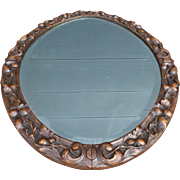 Antique Hand Carved Black Forest Wall Mirror with Branch and Leaf Decor