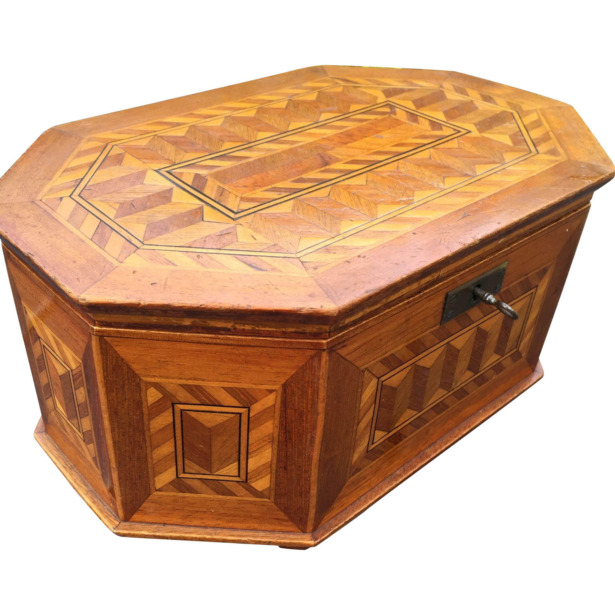 Marquetry Inlaid Jewelry - Treasure Box